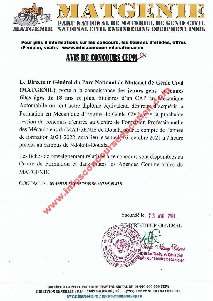 concours d'entrée au Centre de Formation Professionnelle des Mécaniciens (CFPM) du MATGENIE Douala 2021